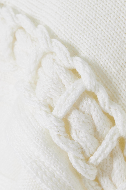 White Cropped Braided Wool Sweater | Loewe