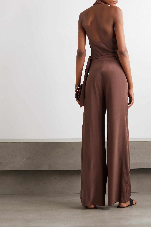 Cortana Combi-pantalon dos nu en crêpe de Chine de soie à drapé Nadjwa