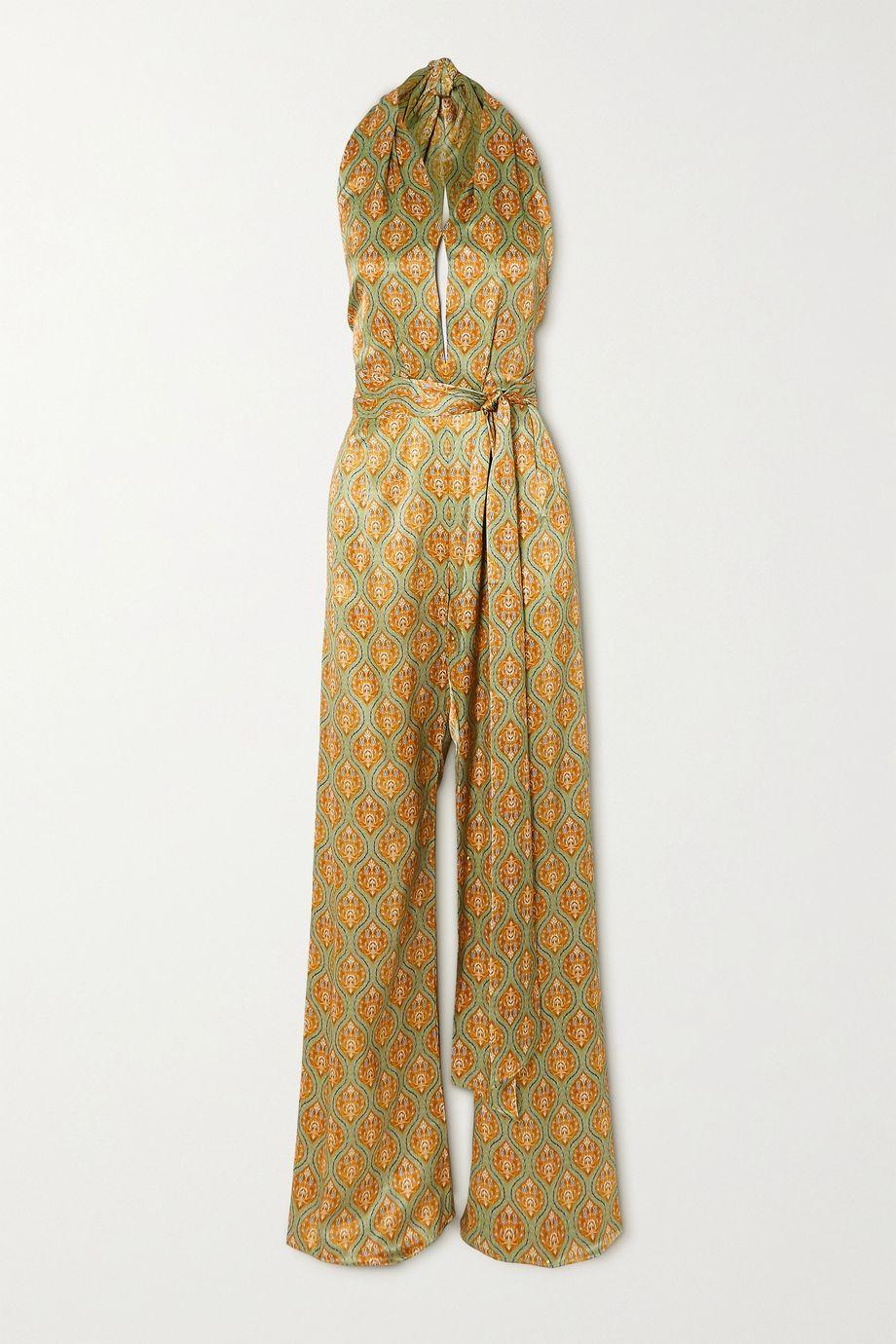 Seren Belted printed silk-satin halterneck jumpsuit