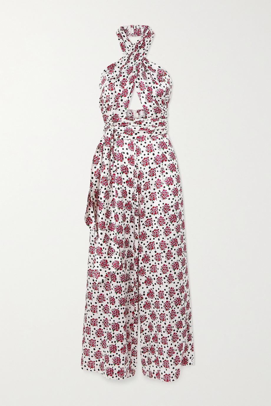 Seren Wrap-effect floral-print silk-satin jumpsuit