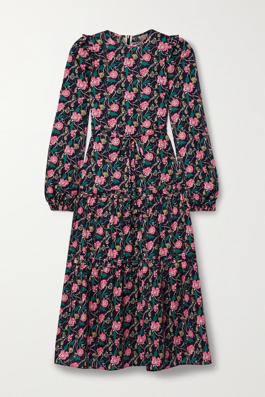 Anna Mason Christy Midikleid aus Baumwollpopeline mit Blumenprint