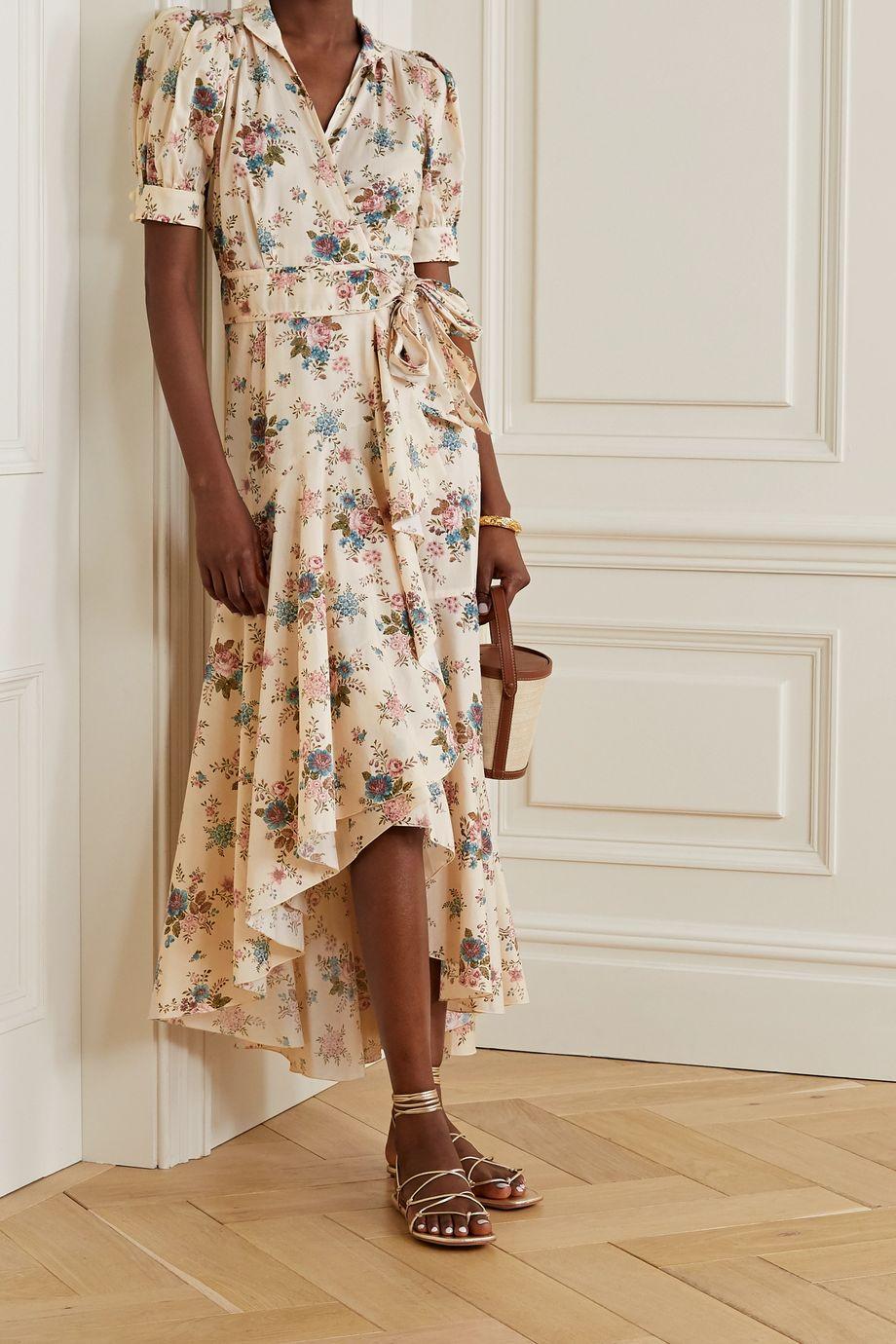 Anna Mason Stella Wickelkleid aus Baumwollpopeline mit Blumenprint