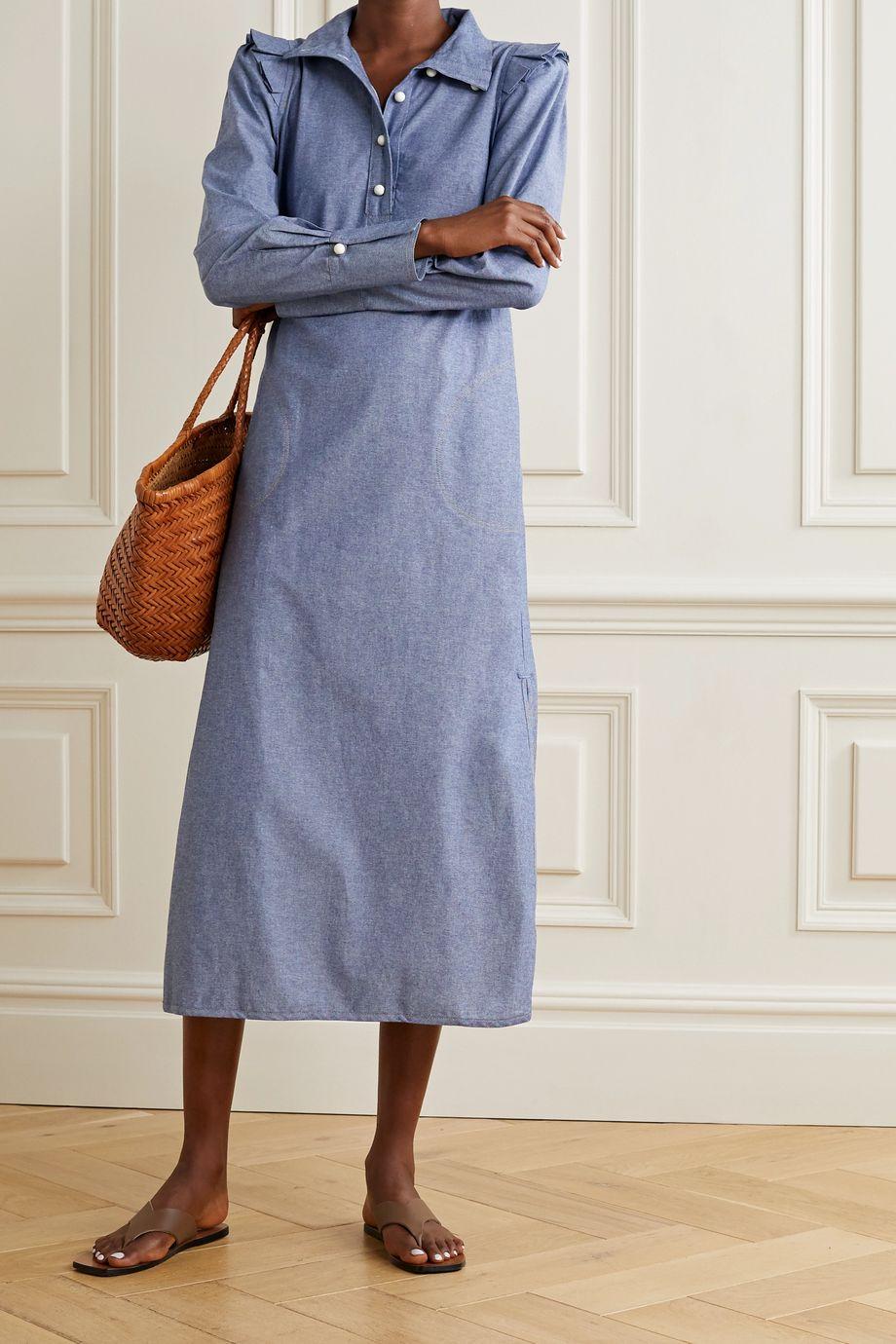 Anna Mason Agnes Hemdblusenkleid aus Baumwoll-Chambray mit Rüschen