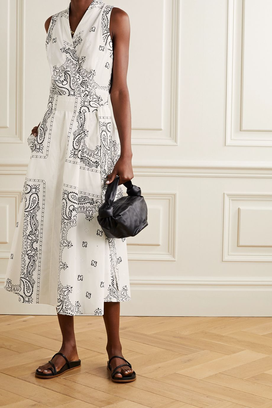 Tory Burch Belted printed cotton-voile midi wrap dress