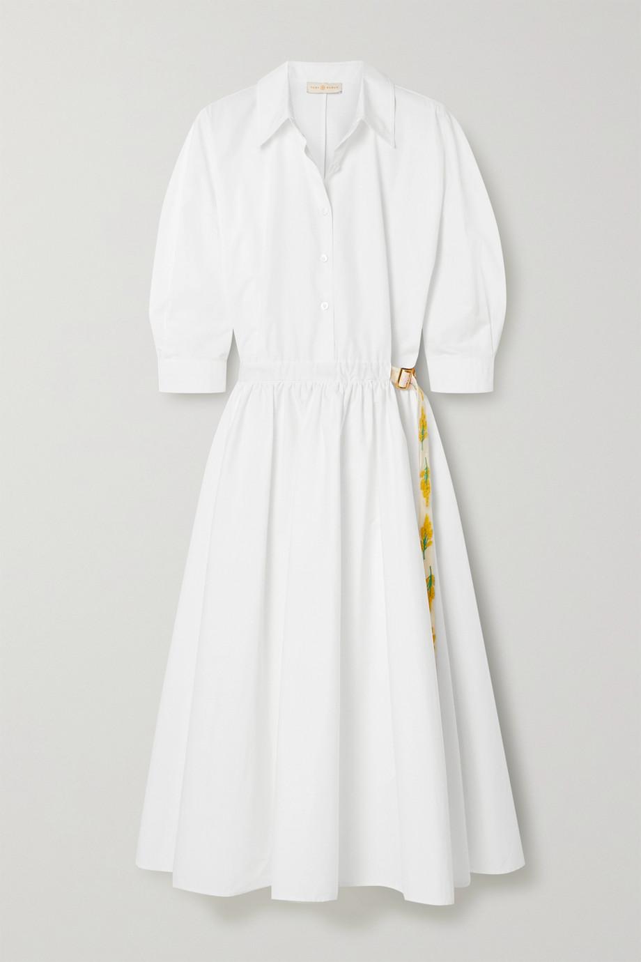 Tory Burch Hemdblusenkleid aus Baumwollpopeline mit Ripsbandbesatz und Gürtel