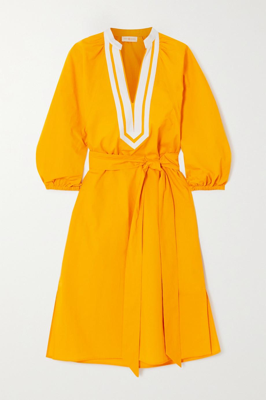 Tory Burch Kleid aus Baumwollpopeline mit Canvas-Besätzen und Bindegürtel