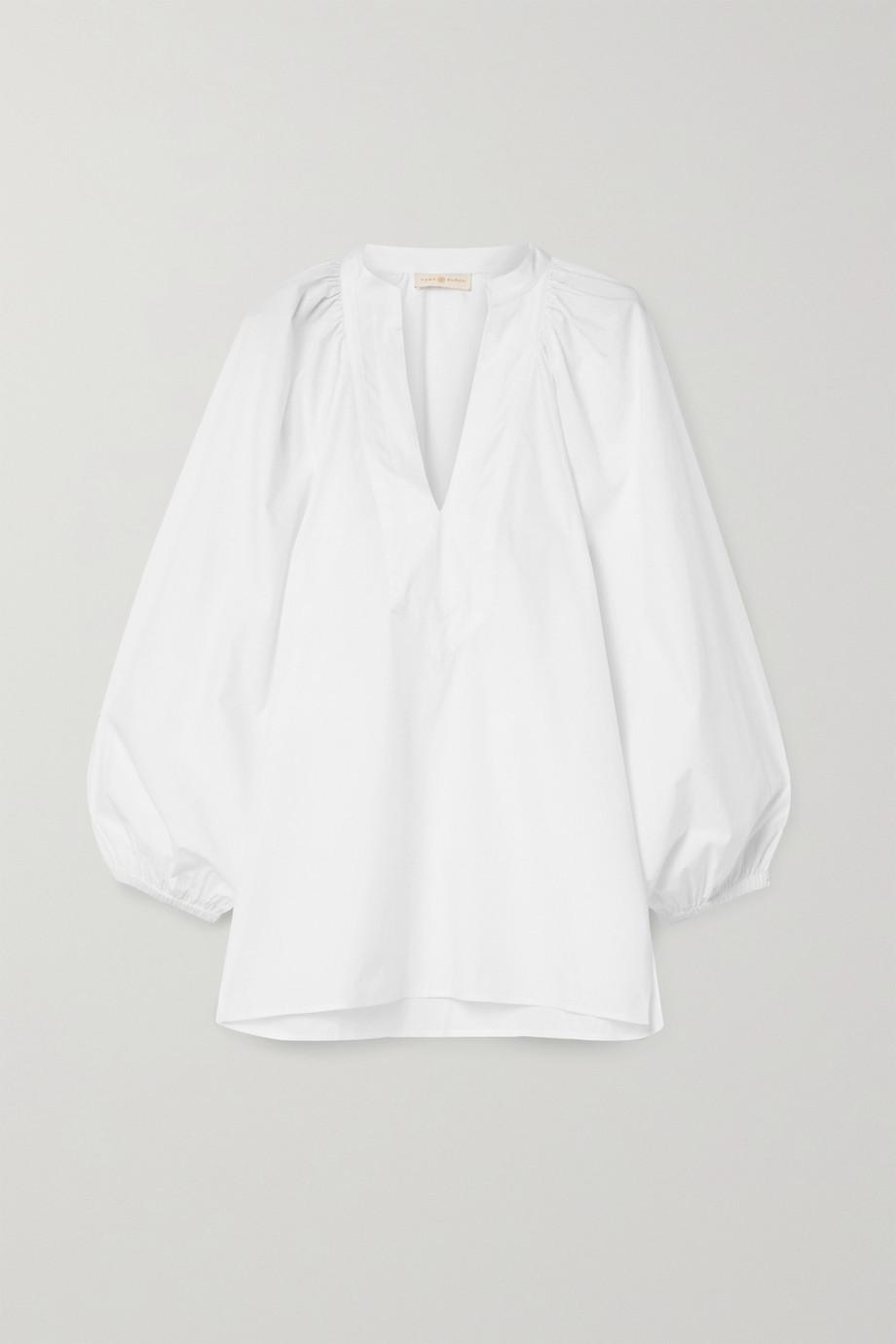Tory Burch Grosgrain-trimmed cotton-poplin blouse