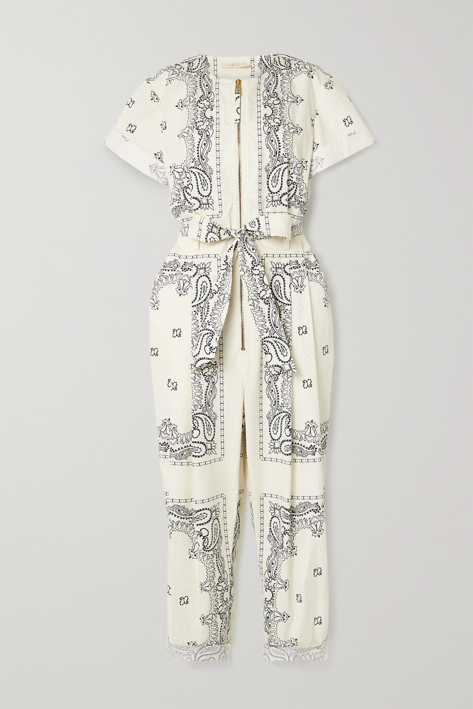 Tory Burch Belted printed cotton-voile jumpsuit