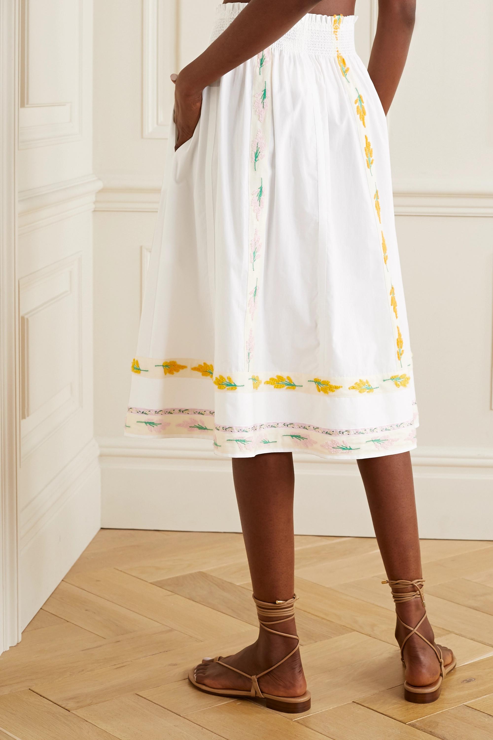 Tory Burch Grosgrain-trimmed embroidered cotton-poplin midi skirt
