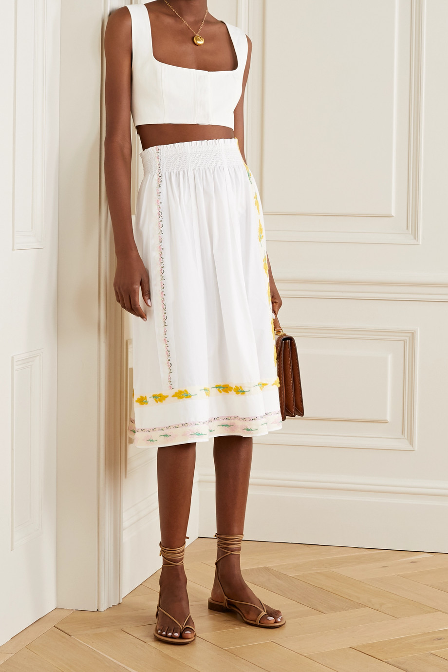 Tory Burch Grosgrain-trimmed embroidered cotton-poplin midi skirt