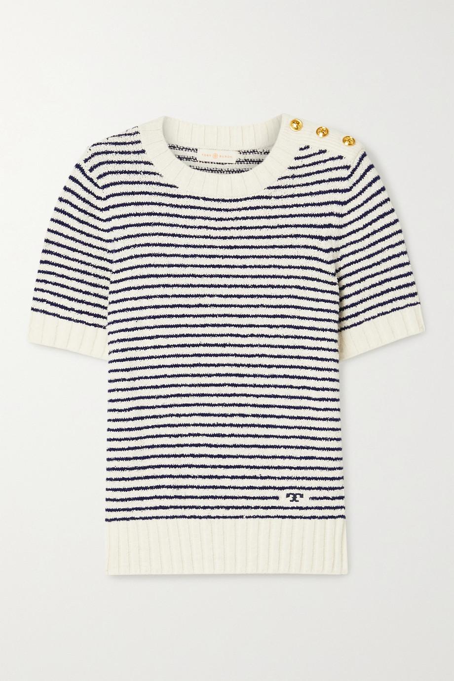 Tory Burch Striped cotton-bouclé sweater