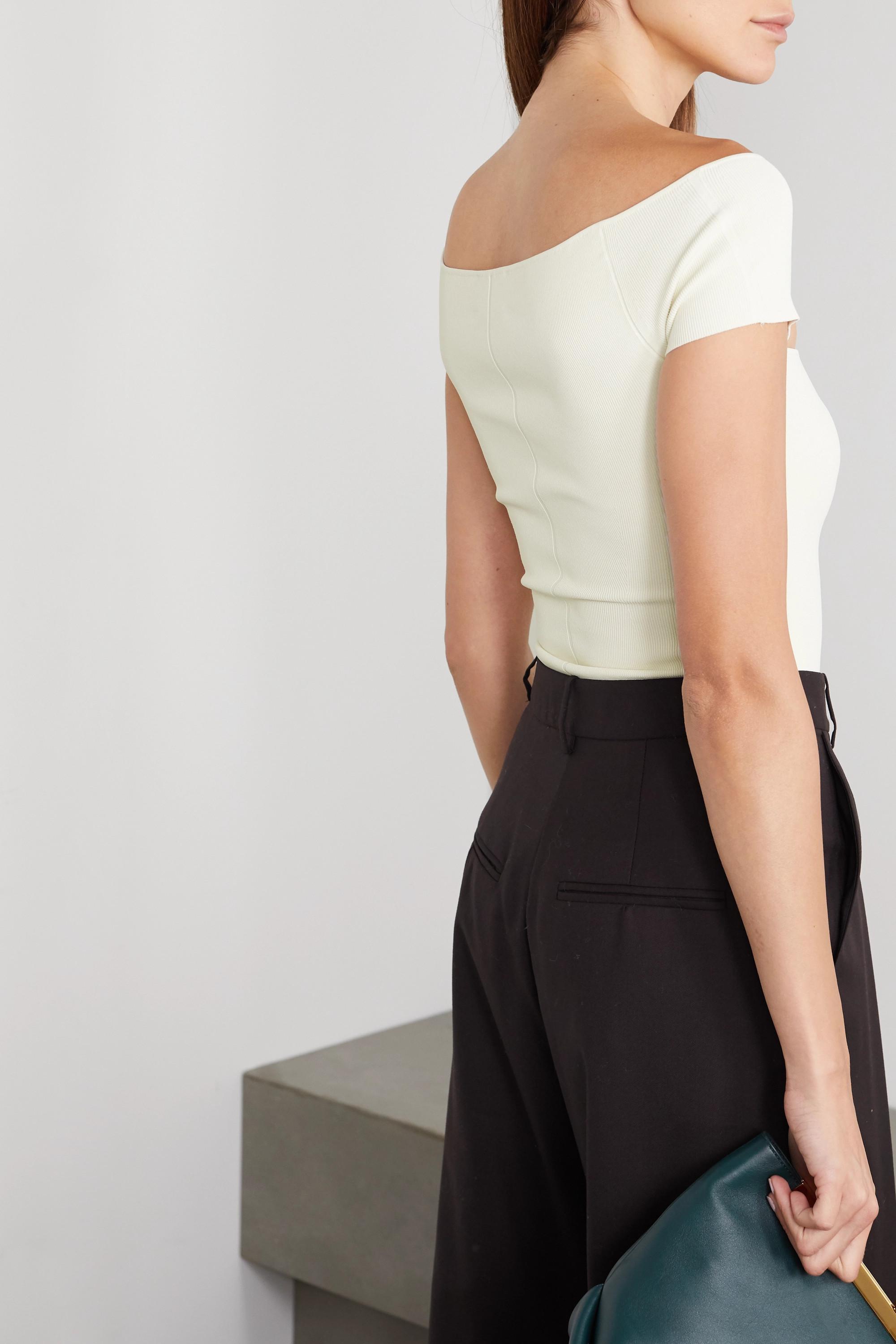 Khaite Talie cutout ribbed stretch-knit bodysuit