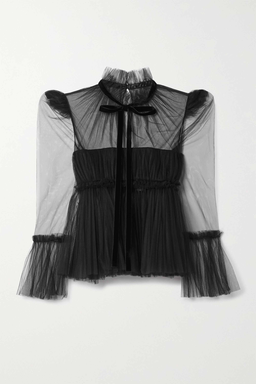 Khaite Dominika velvet-trimmed pleated tulle blouse