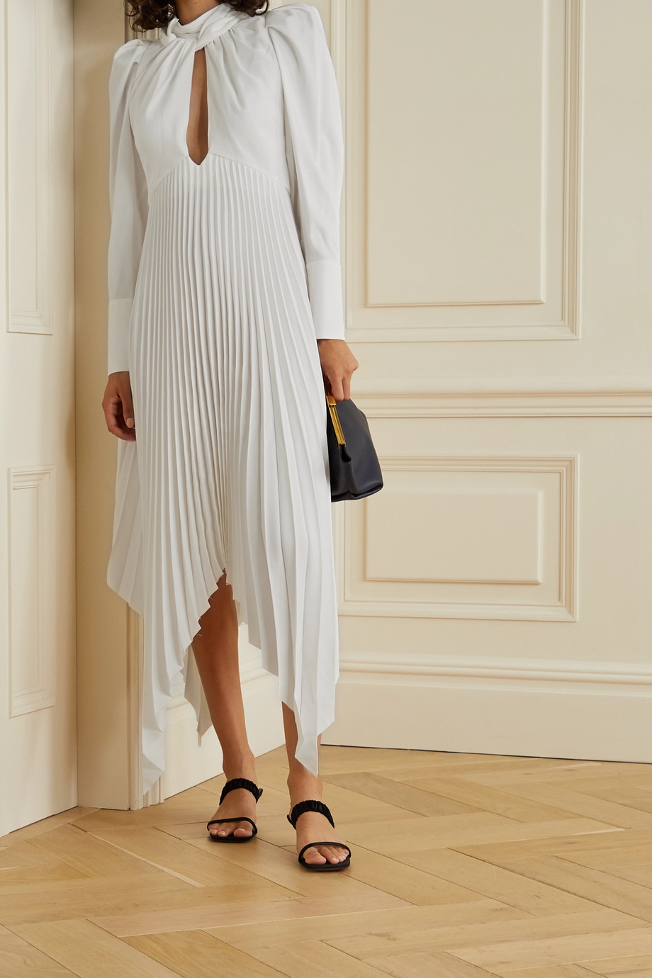 Khaite Bryn asymmetric cutout pleated crepe dress
