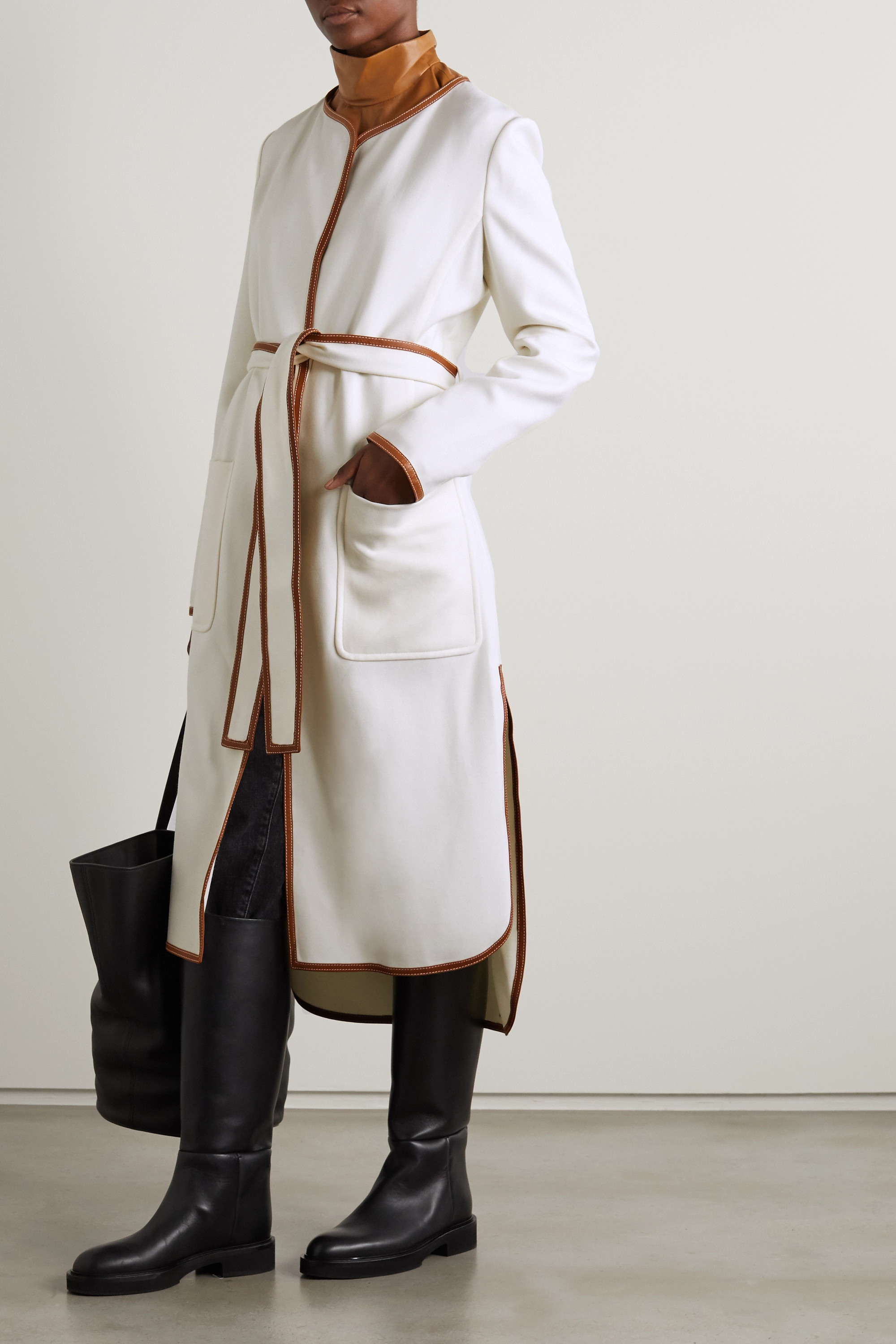 Khaite Iman belted leather-trimmed twill coat