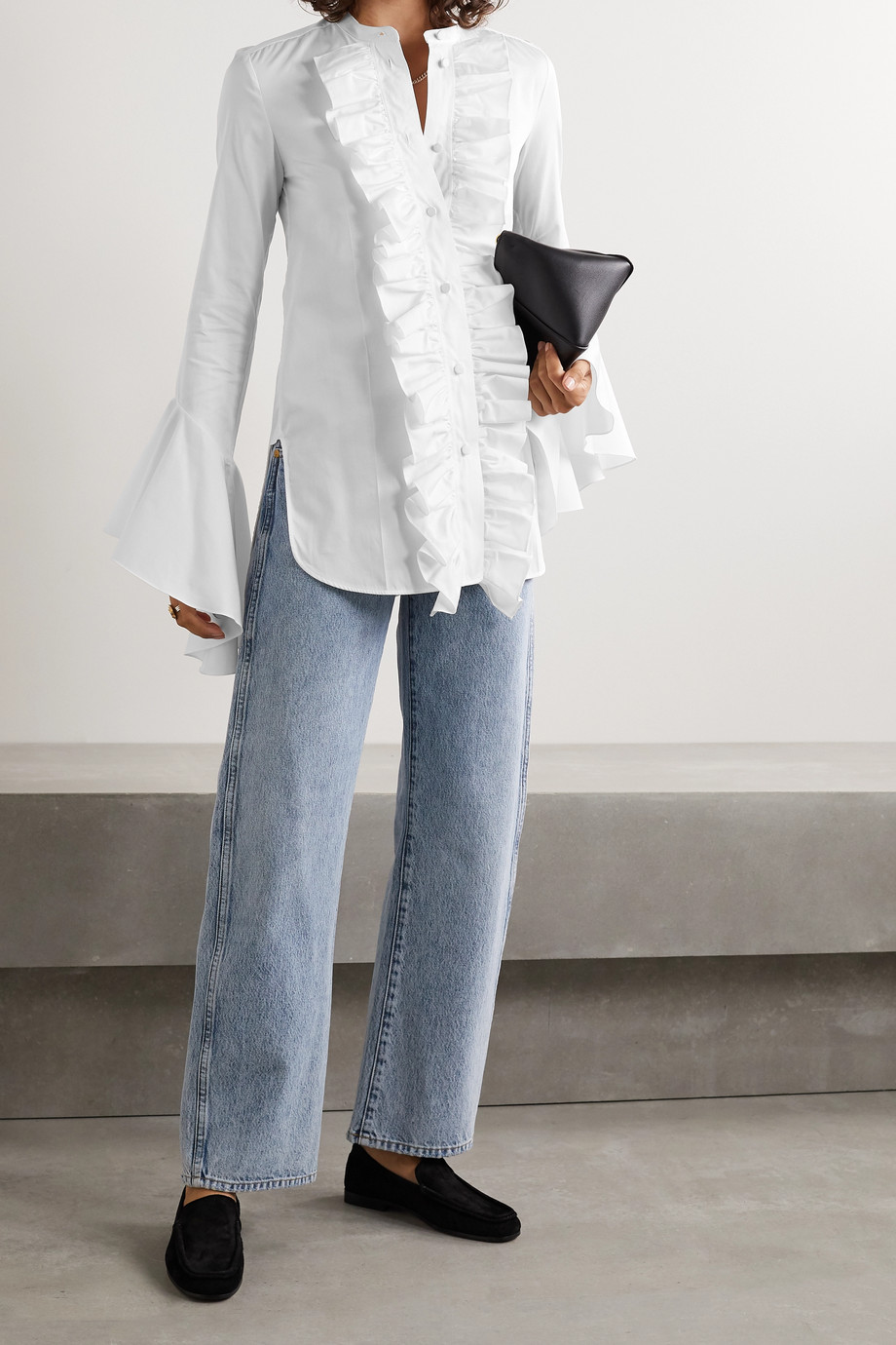 Khaite Keith ruffled cotton-poplin shirt
