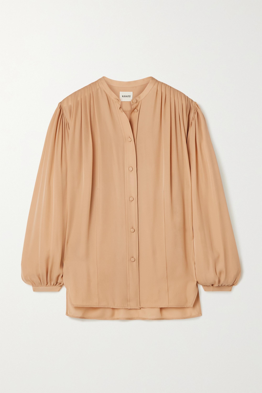 Khaite Denny gathered silk-crepe shirt