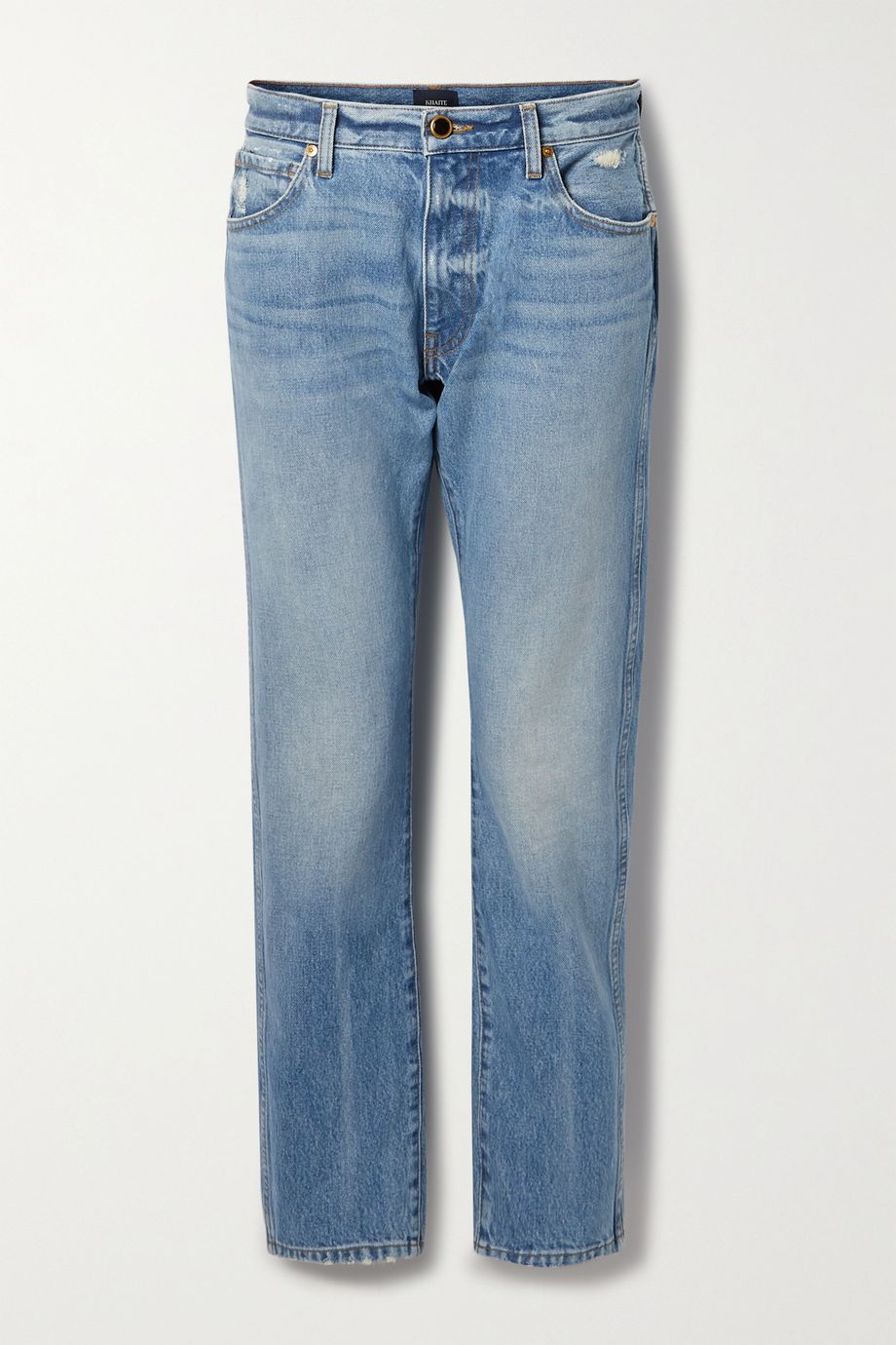 Khaite Kyle distressed low-rise straight-leg jeans