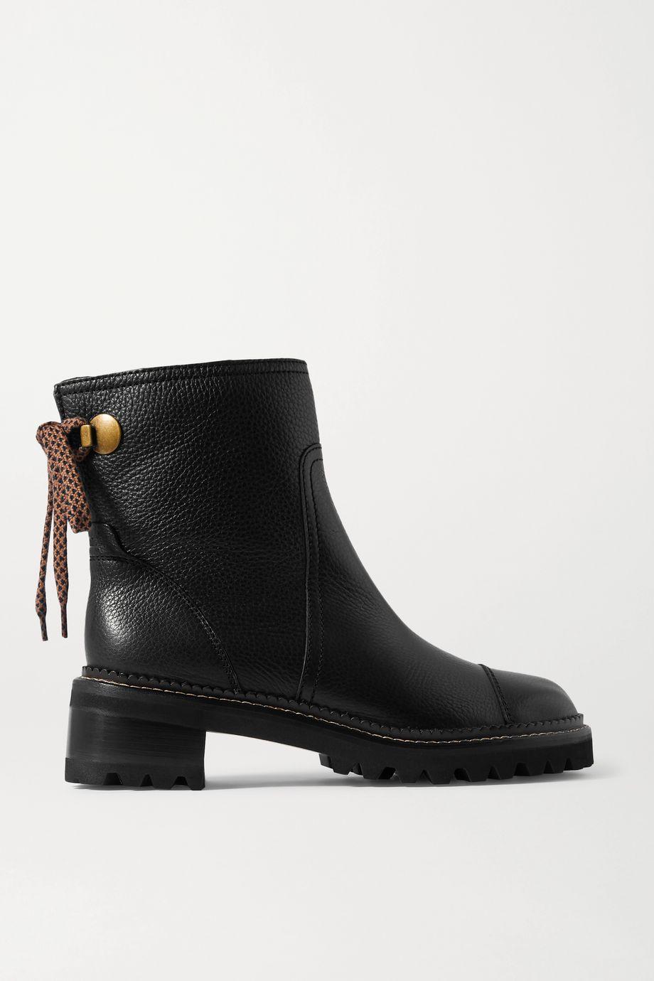 See By Chloé 纹理皮革踝靴