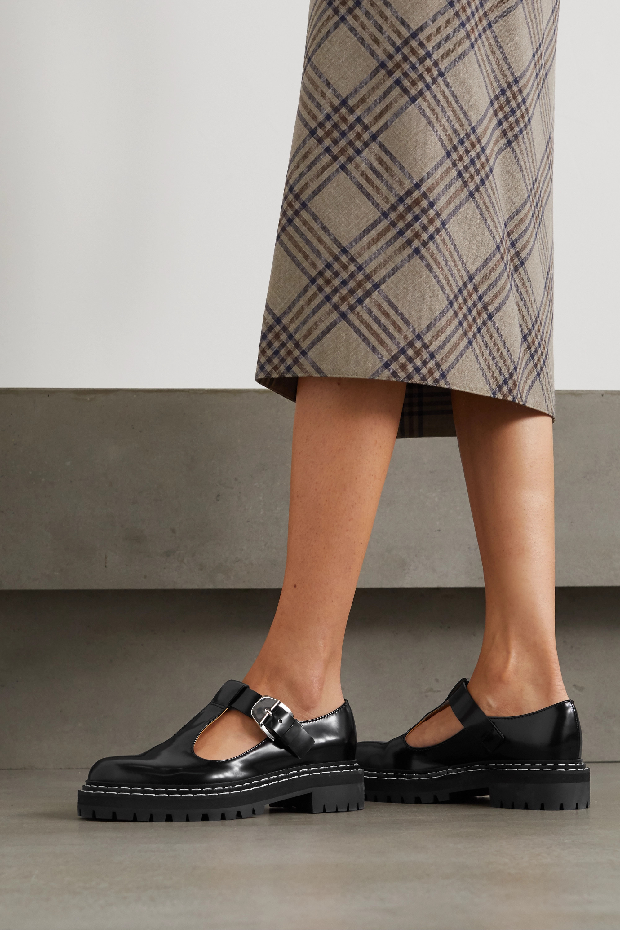Proenza Schouler Glossed-leather pumps