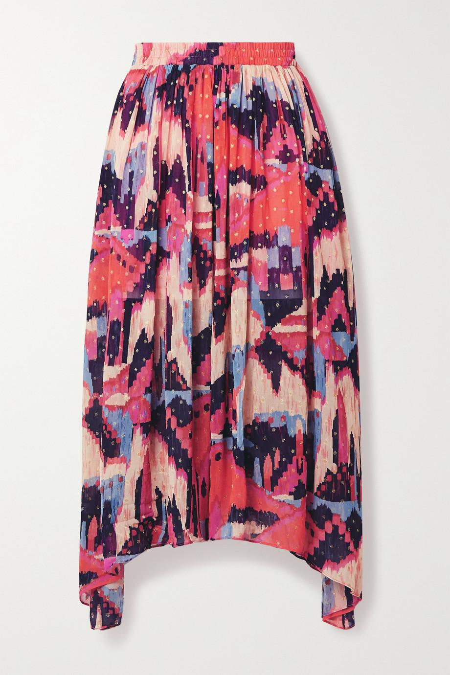 Chufy Urpi asymmetric printed fil coupé georgette midi skirt