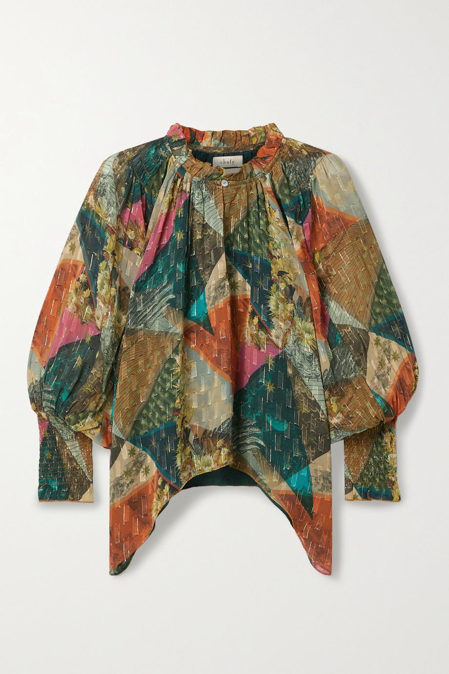 Chufy Killa asymmetrische Bluse aus bedrucktem Georgette mit Fil Coupé