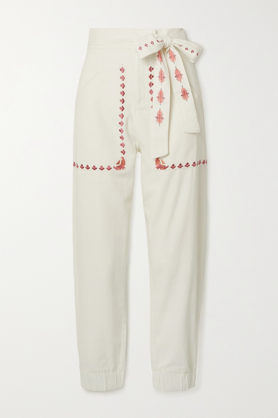 Chufy Gouyen belted embroidered cotton-twill pants