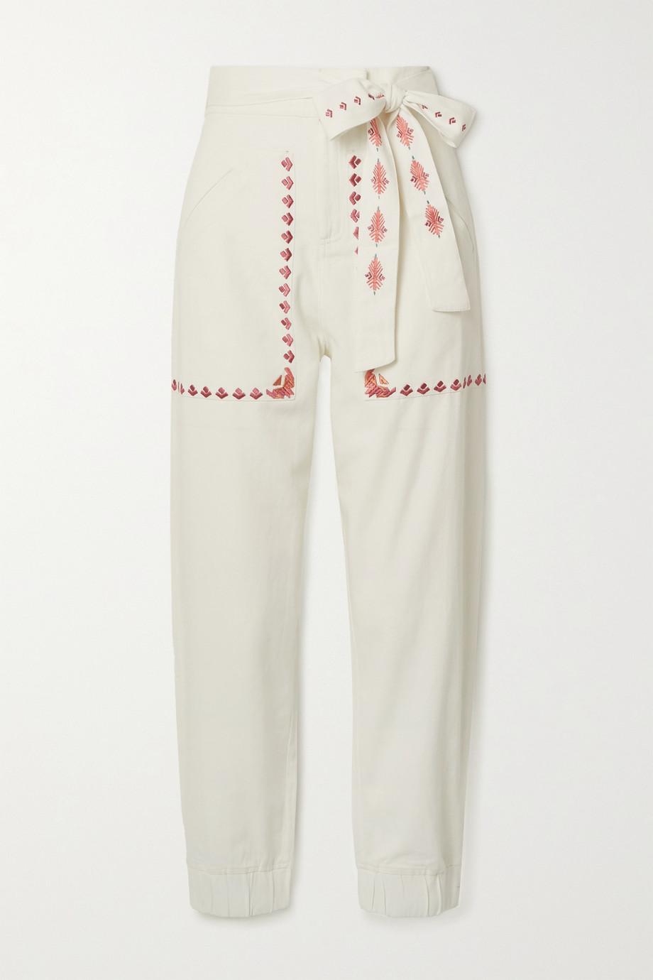 Chufy Pantalon en serge de coton à broderies et à ceinture Gouyen