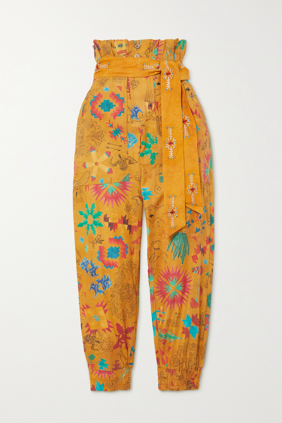 Chufy Belted printed cotton-voile tapered pants