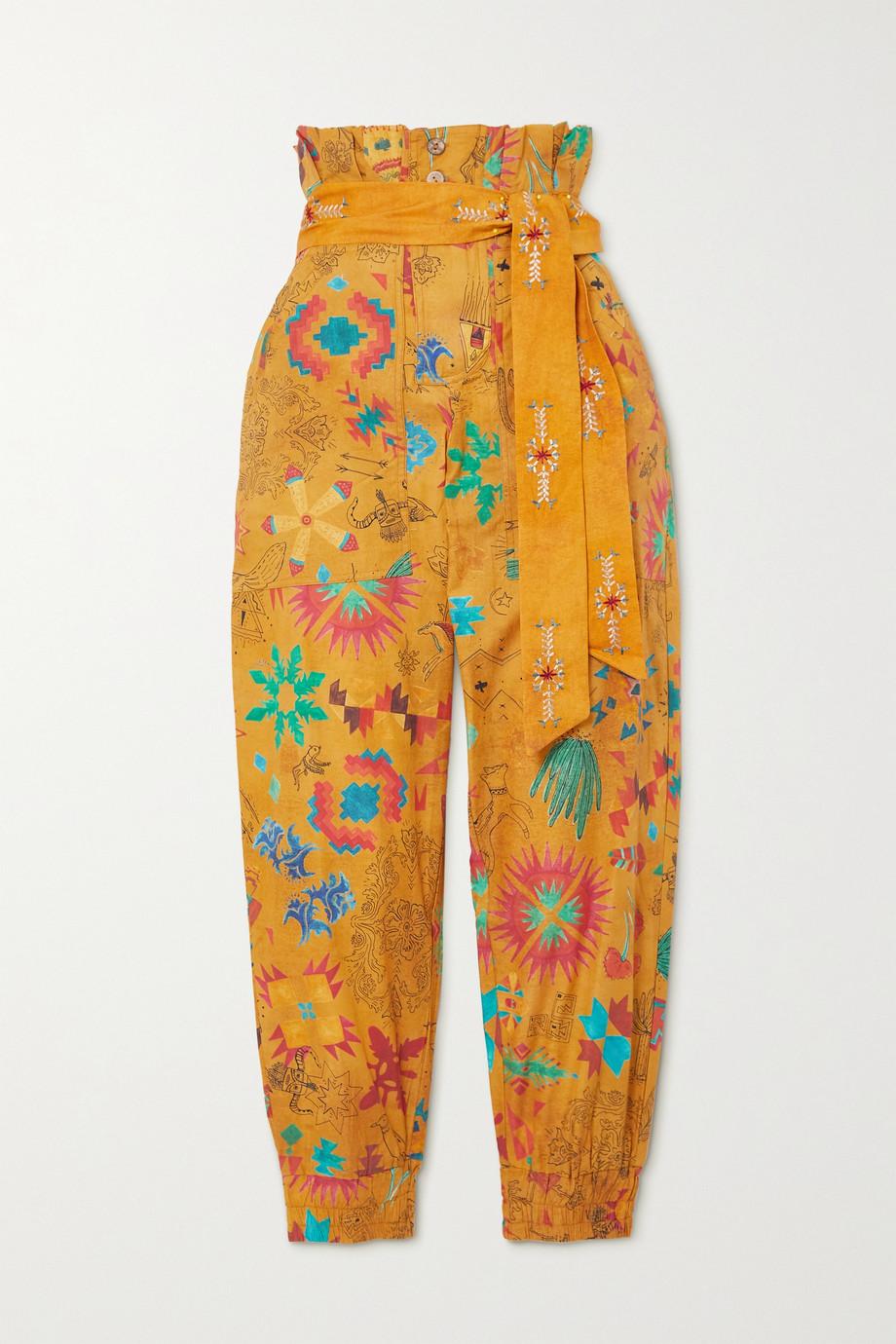 Chufy Pantalon fuselé en voile de coton imprimé à ceinture
