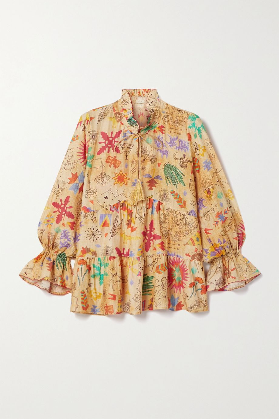 Chufy Saqui tiered ruffled printed cotton and silk-blend blouse