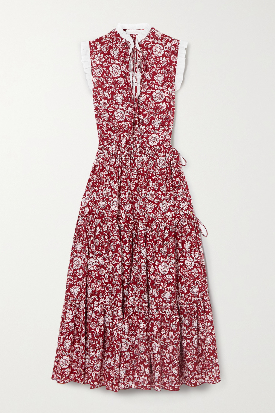 See By Chloé Broderie anglaise-trimmed tiered floral-print cotton midi dress