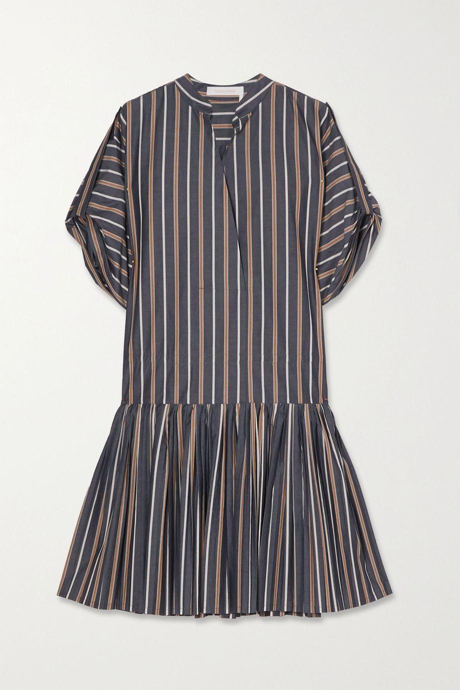 See By Chloé Pleated striped cotton-poplin mini dress