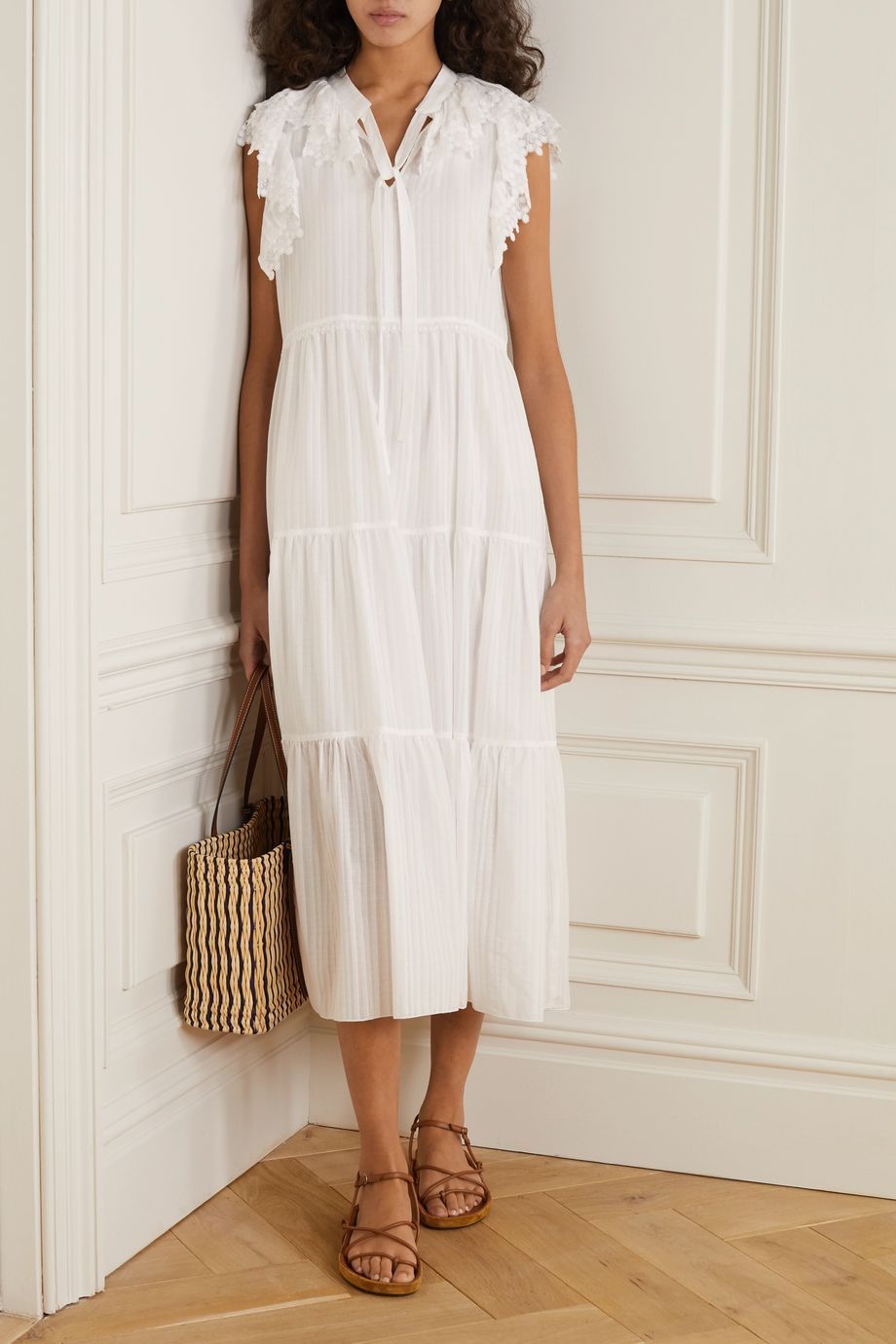 See By Chloé Lace-trimmed tiered cotton-voile midi dress
