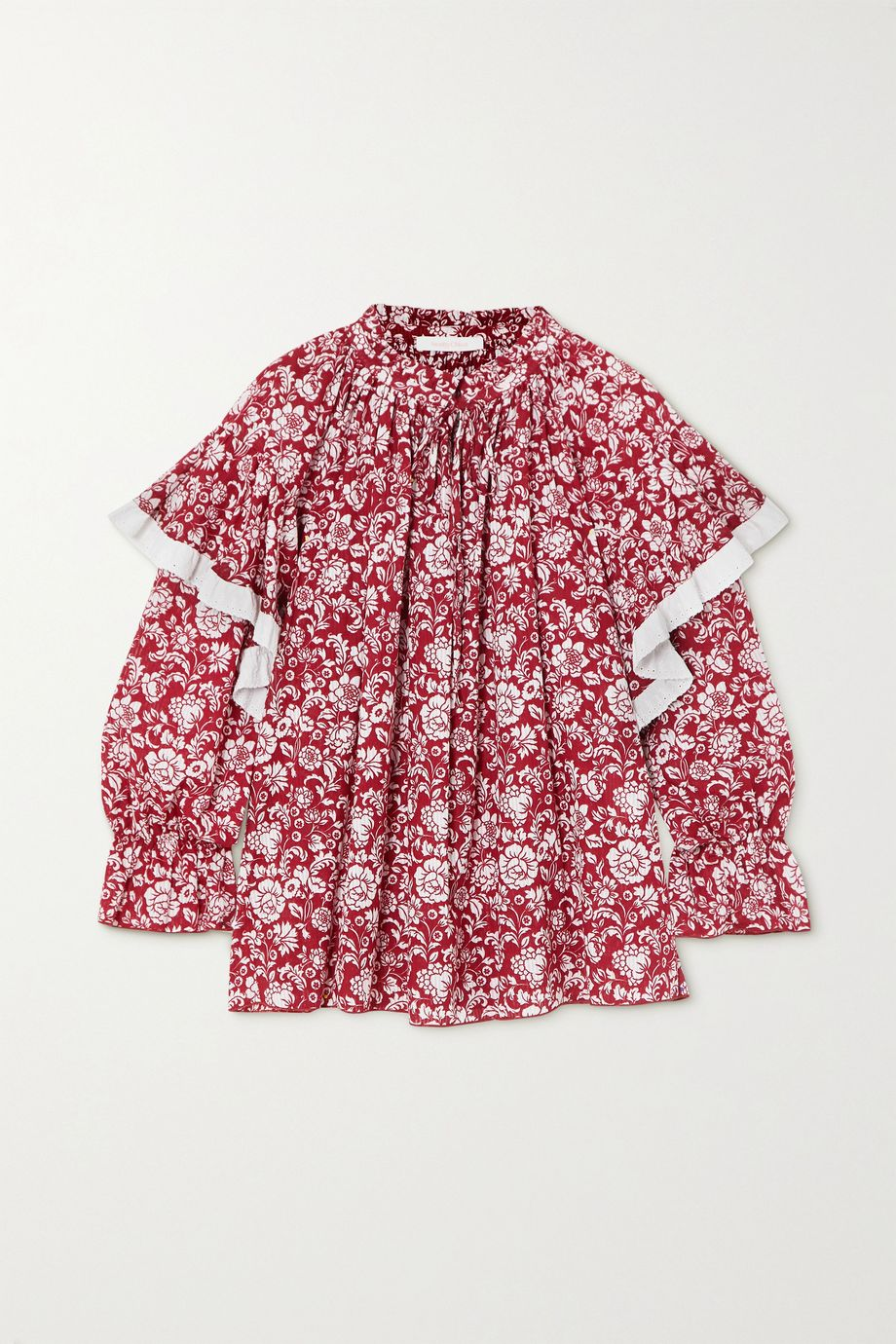See By Chloé Ruffled broderie anglaise-trimmed floral-print cotton blouse
