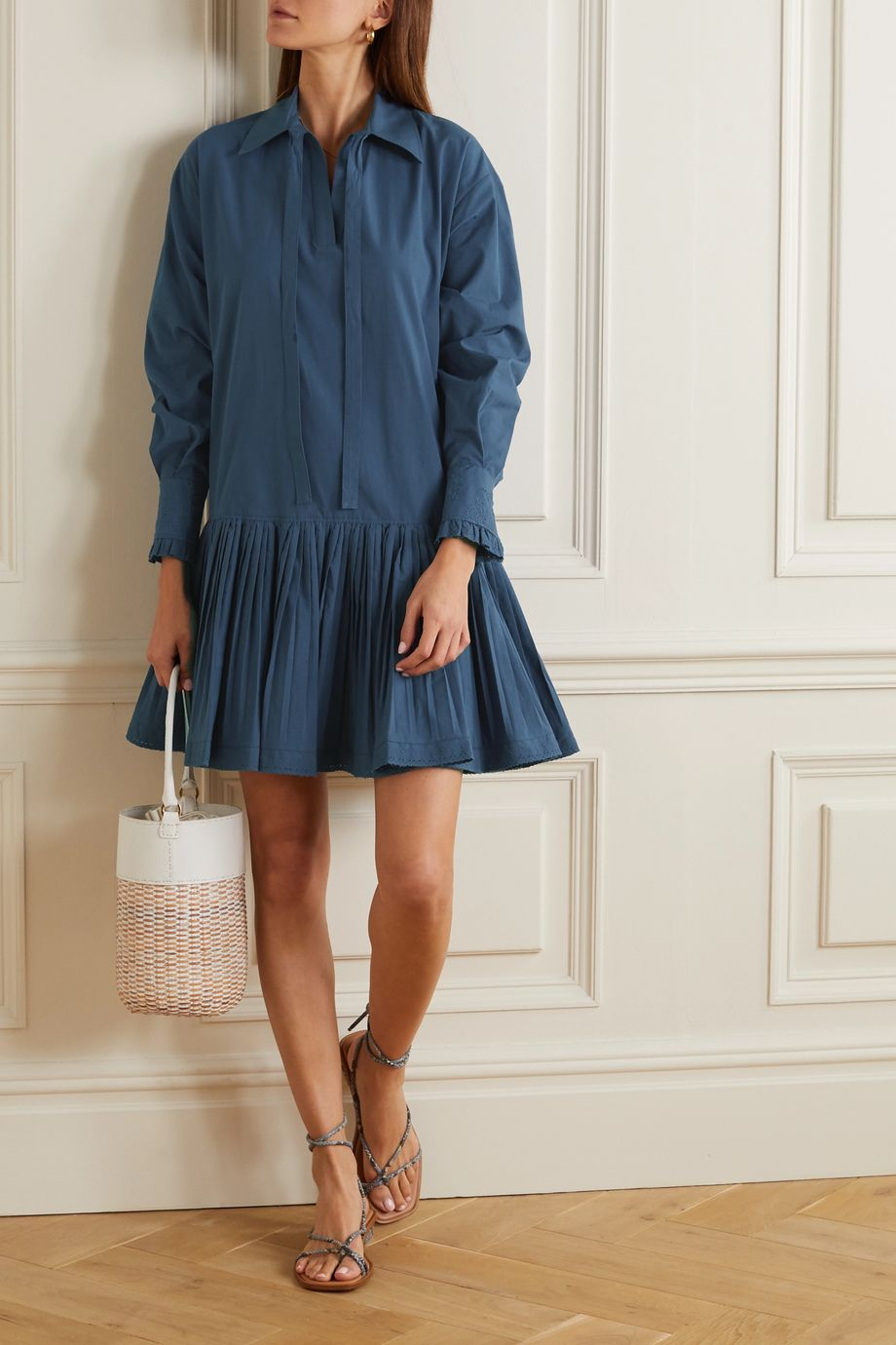 See By Chloé Pleated broderie anglaise-trimmed cotton-poplin mini shirt dress