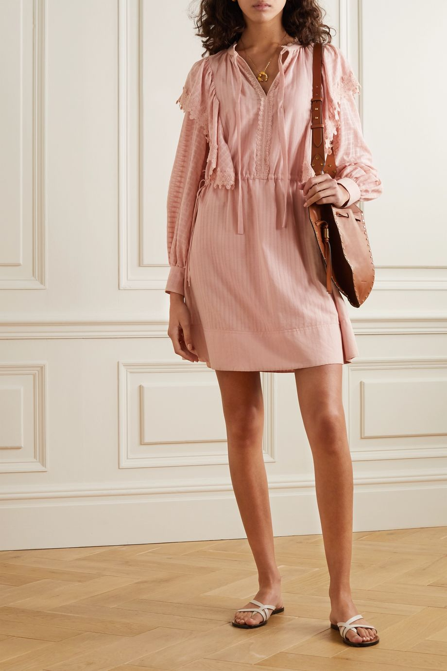 See By Chloé Ruffled lace-trimmed cotton mini dress
