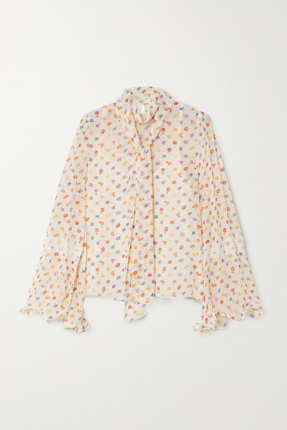 See By Chloé Pussy-bow floral-print chiffon blouse