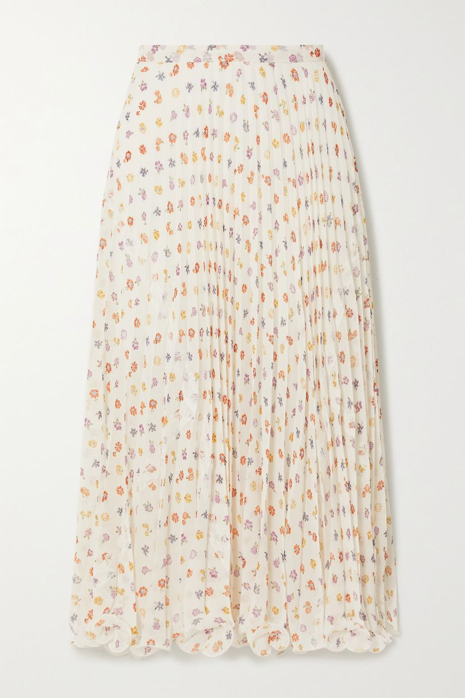 See By Chloé Ruffled lace-trimmed pleated floral-print voile midi skirt
