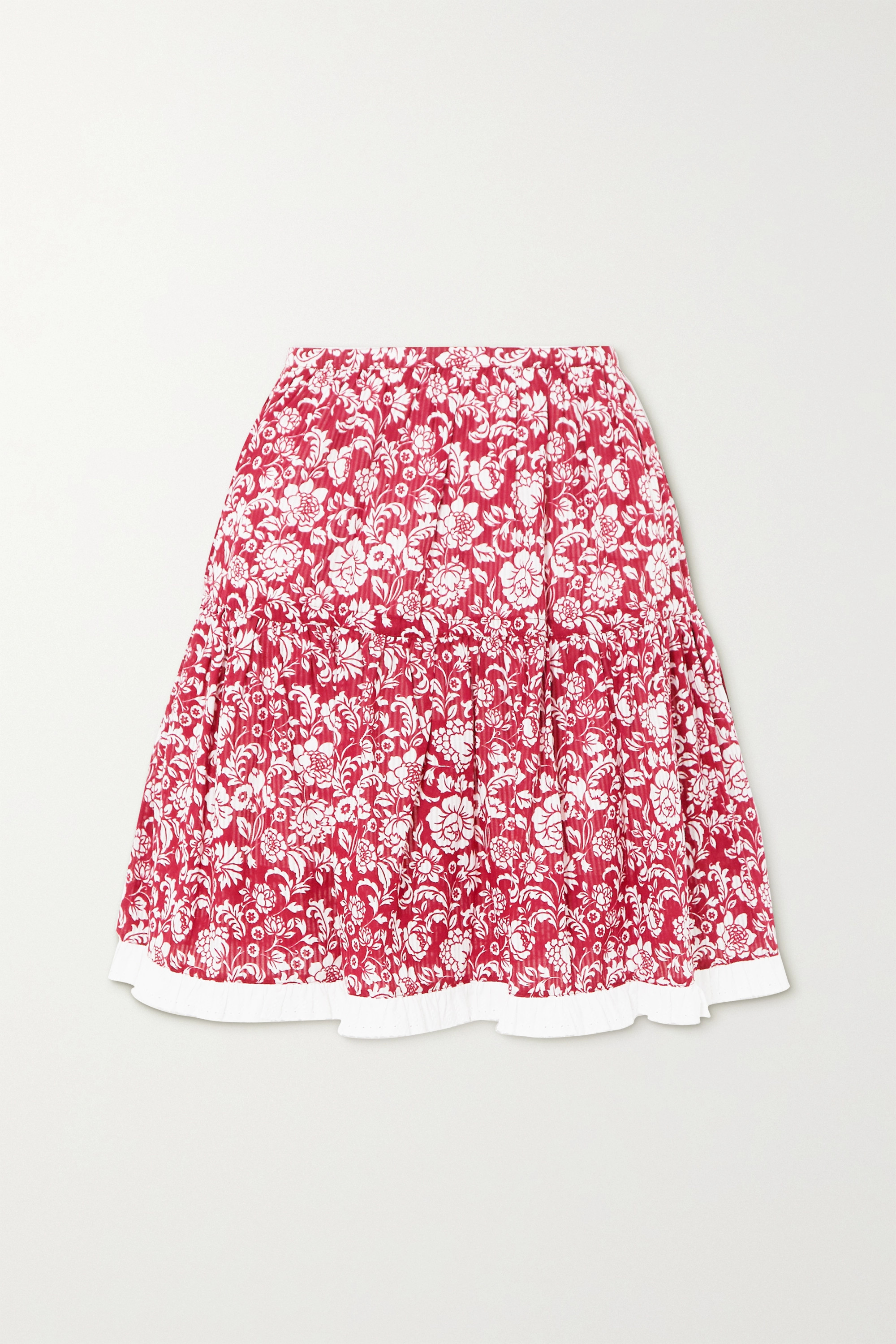 See By Chloé Tiered broderie anglaise-trimmed floral-print cotton mini skirt