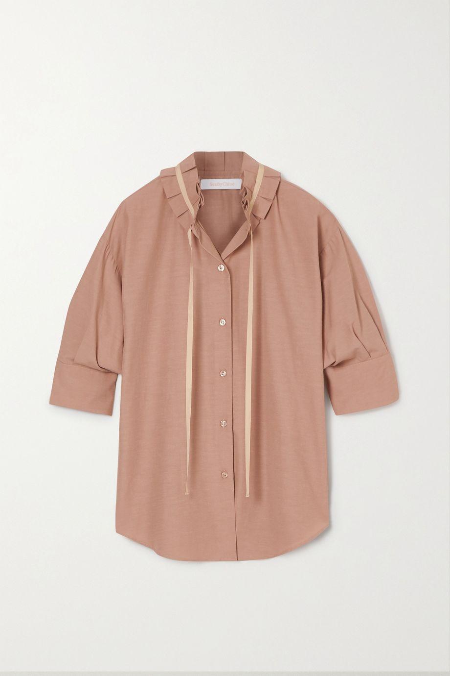 See By Chloé Tie-detailed ruffled crepe blouse