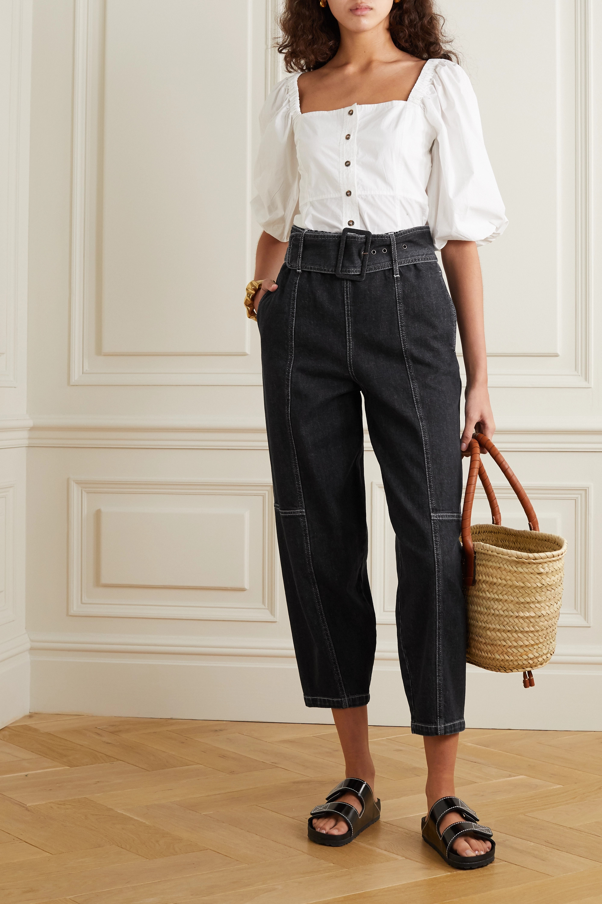 See By Chloé Paneled high-rise tapered jeans