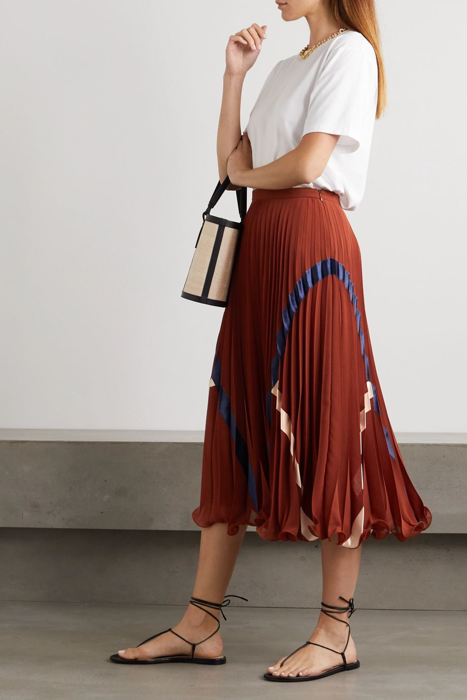 See By Chloé Satin-trimmed pleated voile midi skirt