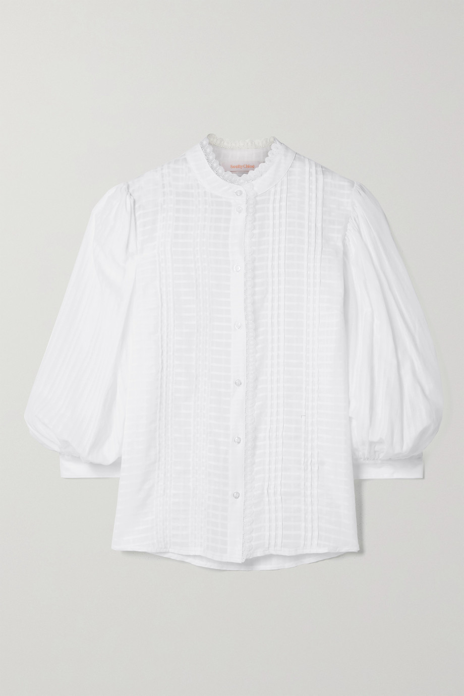 See By Chloé Crochet-trimmed pintucked embroidered cotton-voile blouse