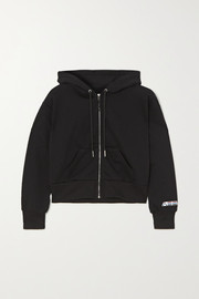 Adam Selman Sport Cropped cotton-blend jersey hoodie