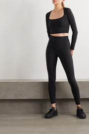 Adam Selman Sport Crystal-embellished stretch leggings