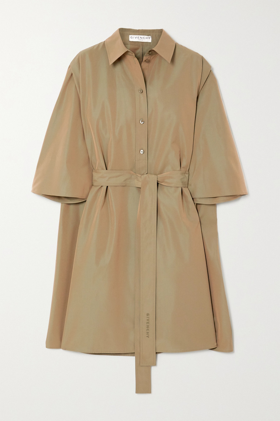 Givenchy Cape-effect belted cotton-poplin mini shirt dress