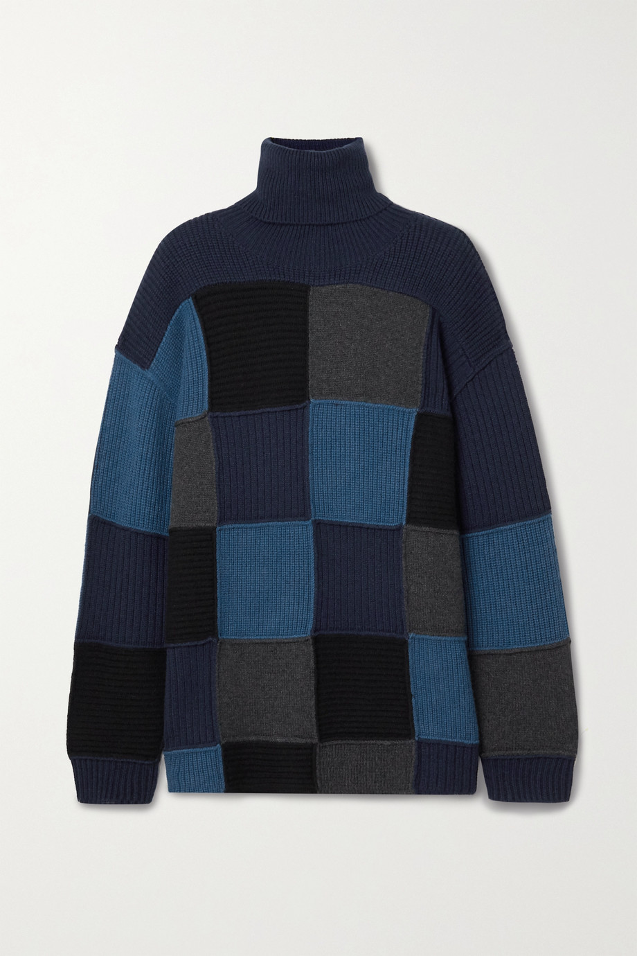 Givenchy Oversized-Rollkragenpullover aus Kaschmir in Patchwork-Optik