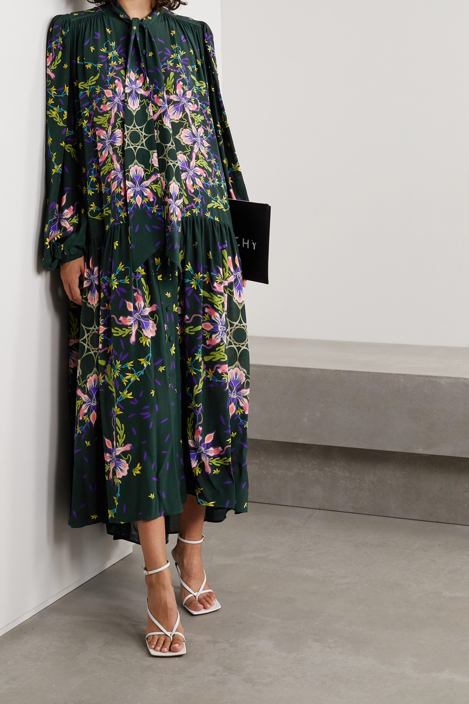 Givenchy Pussy-bow floral-print silk crepe de chine gown