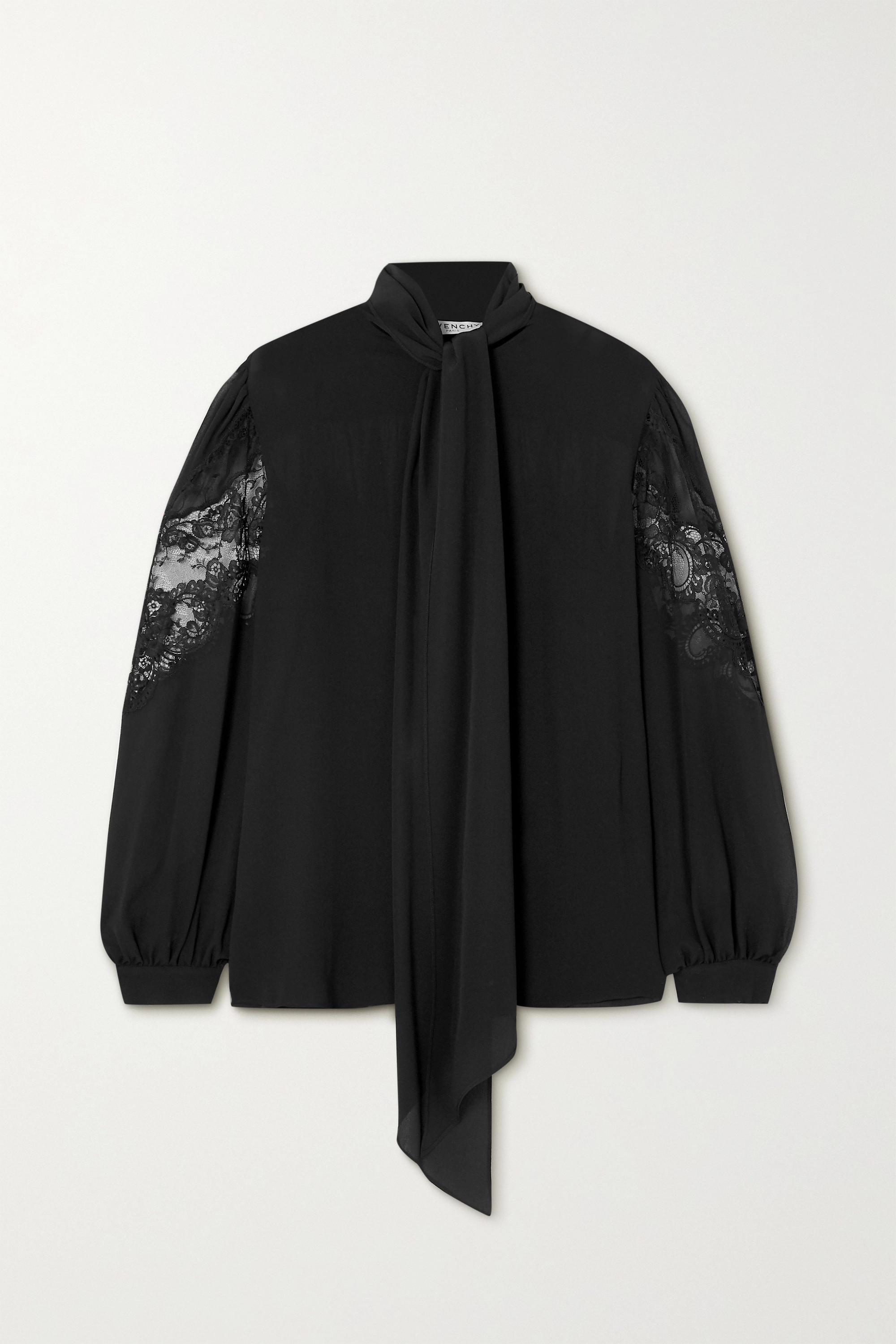 Givenchy Pussy-bow lace-trimmed silk-chiffon blouse